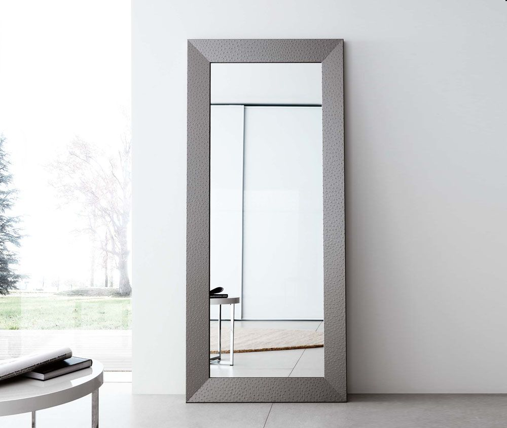 contemporary full length mirror  studio inspiration  pinterest  - homegirl london finds the ego contemporary mirror the lovely long mirroris finished with a silver or black ostrich faux leather surround
