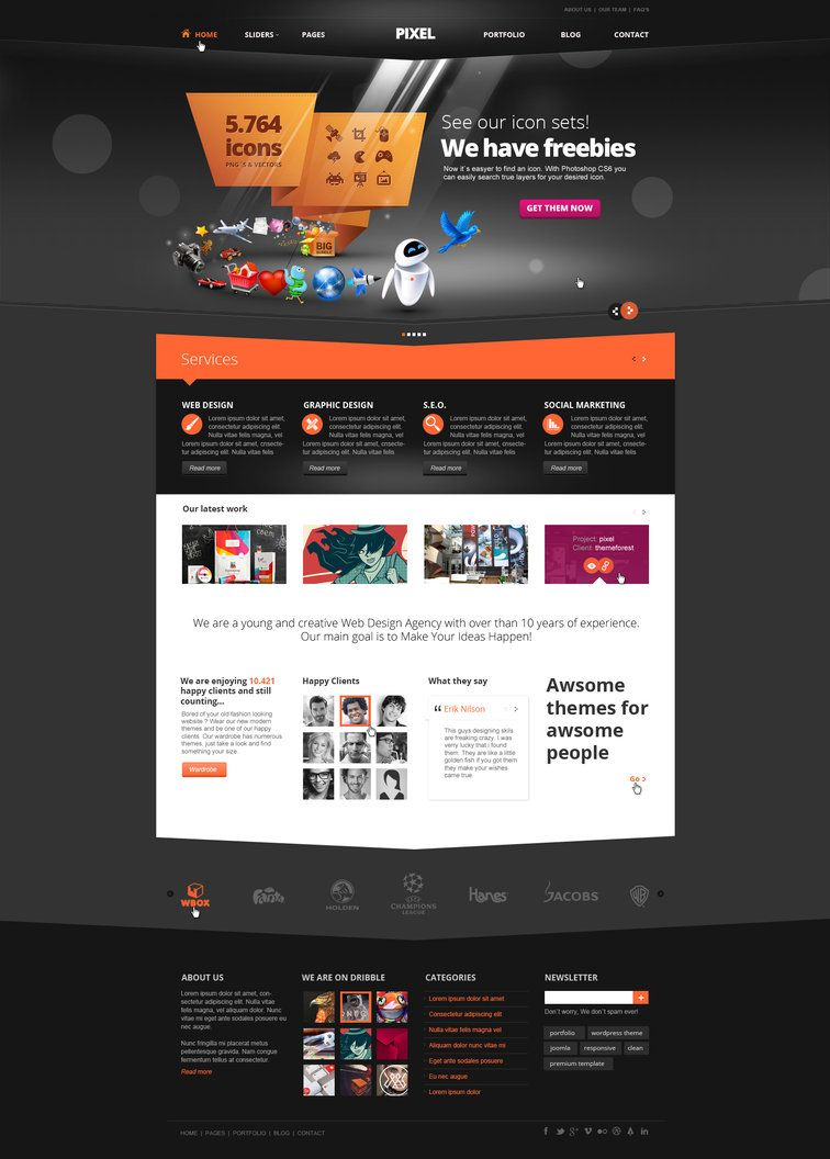 Website Template Pixel Studio  Premium Website Template  Dark*dajydesigns