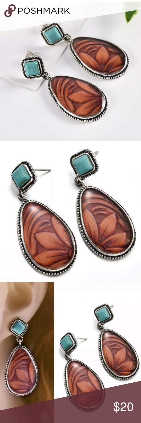 Photo of Boho / Southwestern turquoise Earrings Beautiful dangle earrings featuring faux …