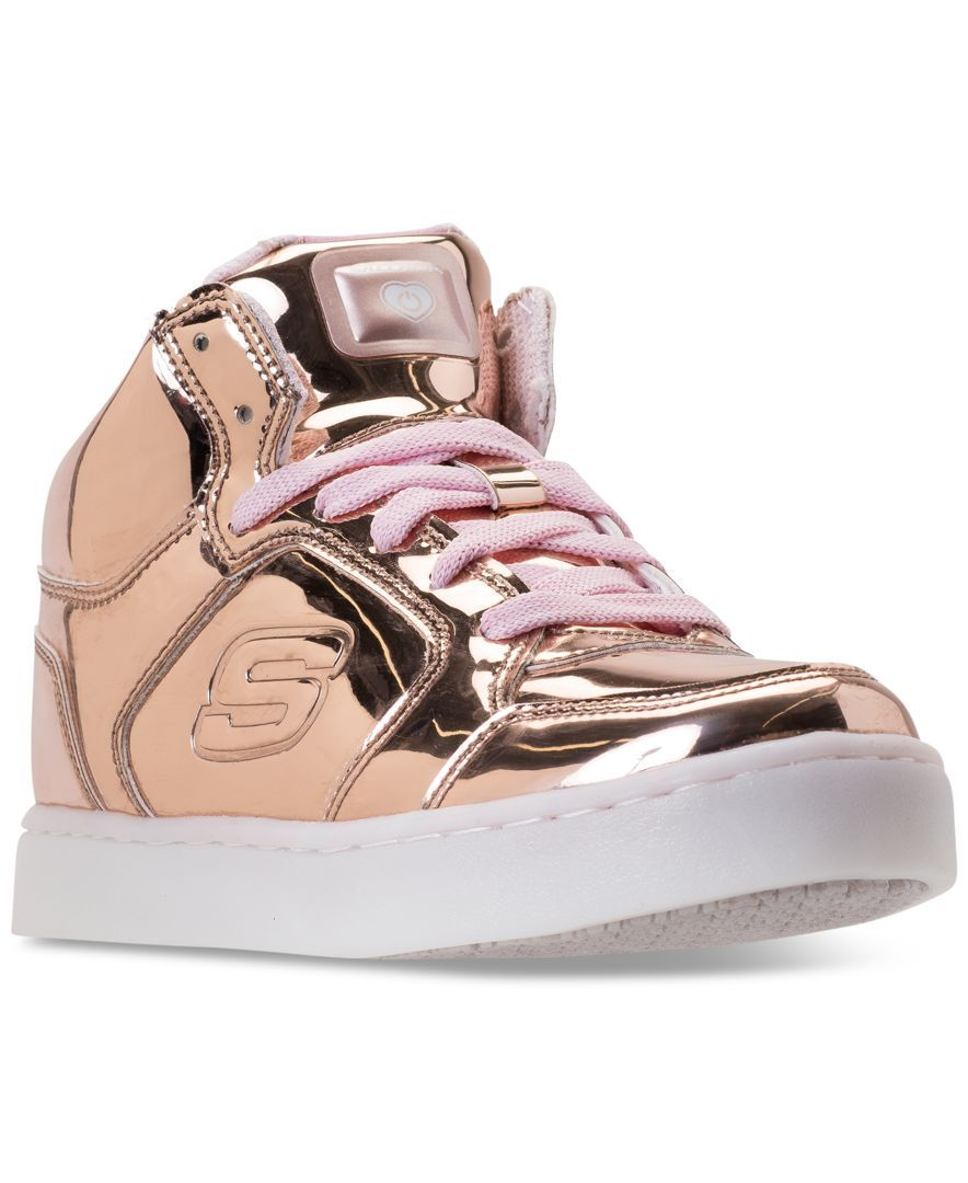 online retailer 7d6a8 728ae Skechers Girls  S Lights  Energy Lights Light-Up High-Top Casual Sneakers  from Finish Line