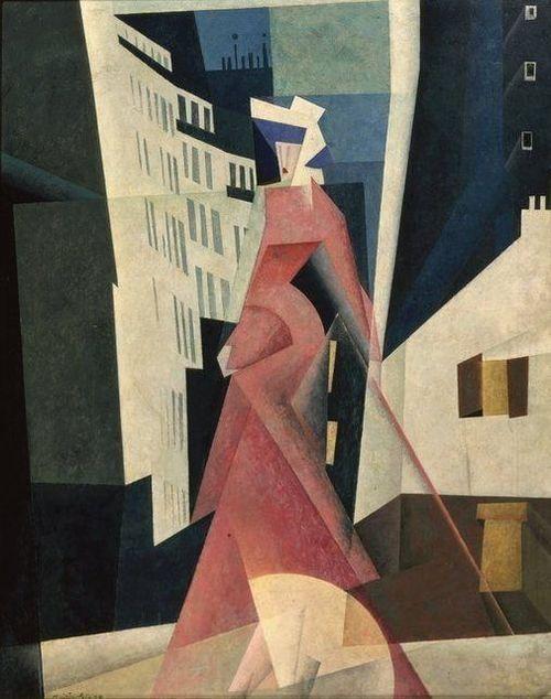 "alfiusdebux: "" Lyonel Feininger, Woman in Mauve, 1922 """