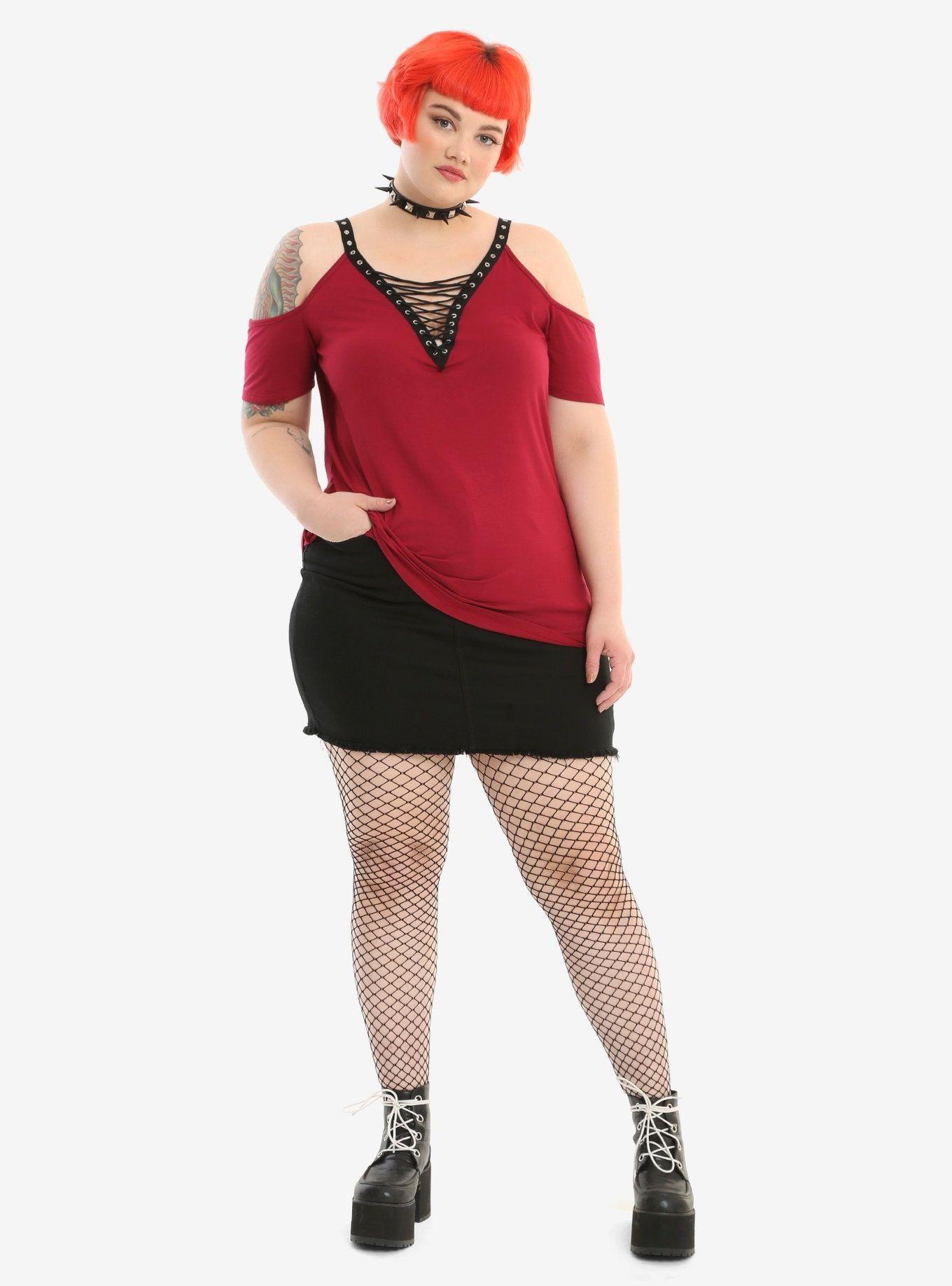 1c68b5c0489 Burgundy Lace-Up Grommet Deep V-Neck Cold Shoulder Girls Top Plus Size,