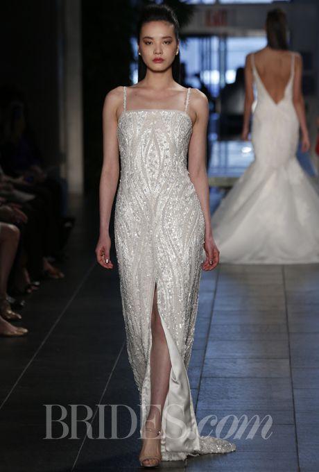 Brides Great Gatsby Inspired Wedding Dresses Venice Ivory Silk Charmeuse Column Dress With Elaborately Beaded Tulle Overlay Rivini