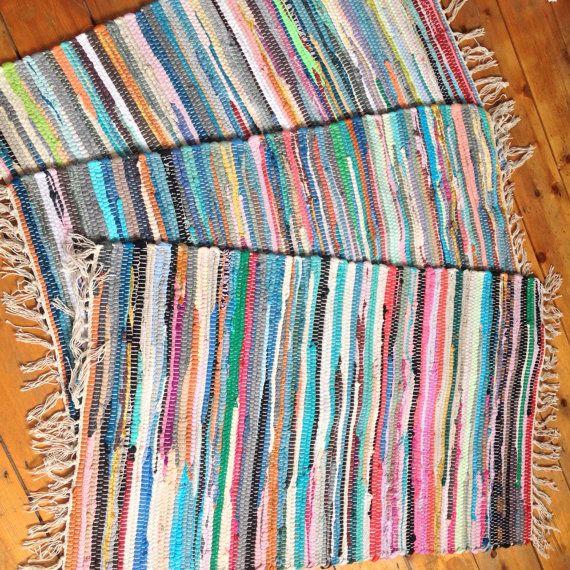 Fair Trade Indian Stripey Chindi Rag Rug Bath Mat Blues