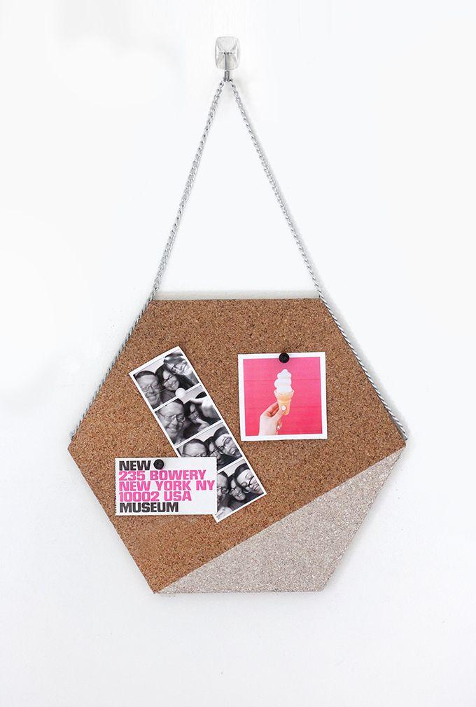 DIY hexagon cork memo board DIY hexagon