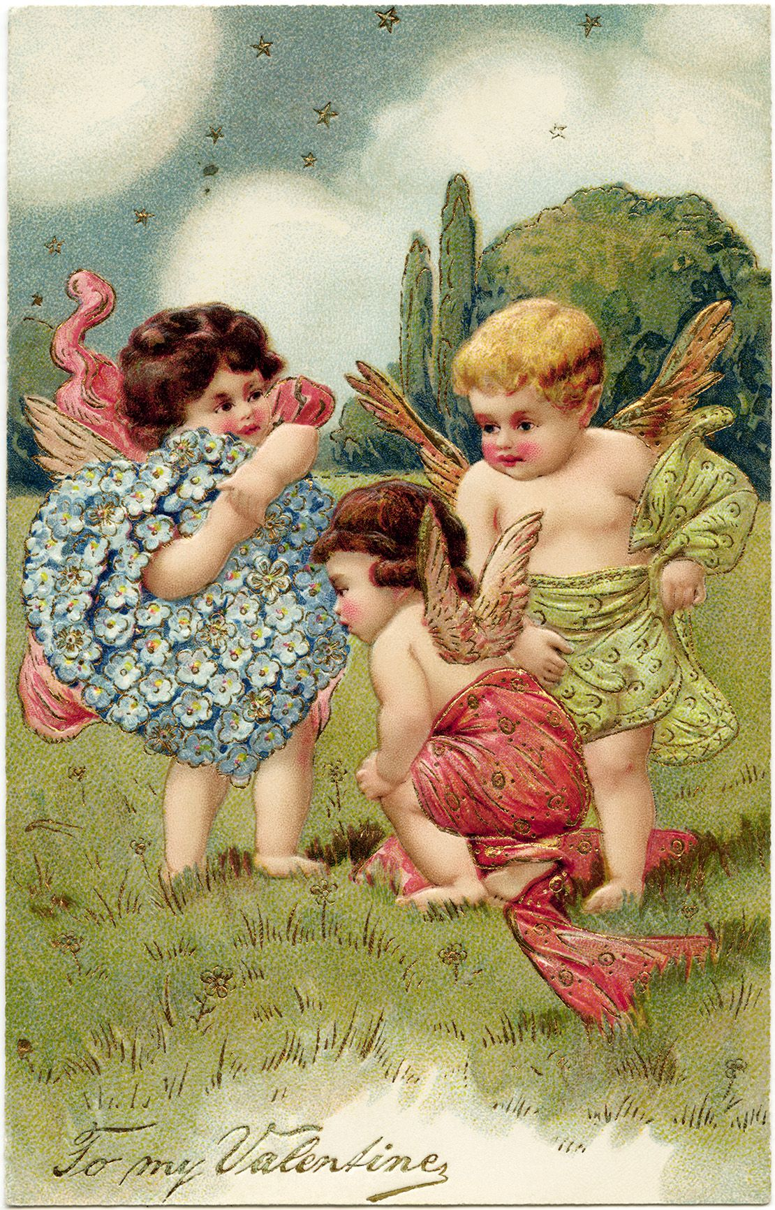 vintage valentine postcard cherubs and hearts clip art old – Old Fashioned Valentine Cards