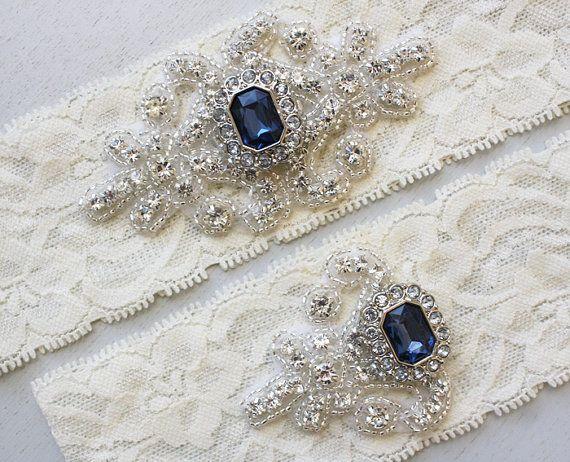 Rhinestone Crystal Bridal Garters Pearl Wedding Garter Set Wedding Ivory Stretch Lace Garter RACHEL II