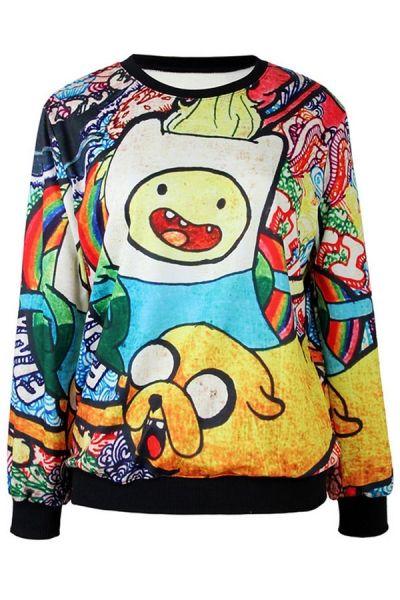 Adventure Time Print Sweatshirt - OASAP.com