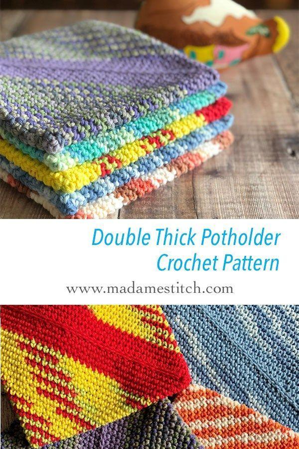 Double Thick Potholder | Crochet potholders, Crochet ...