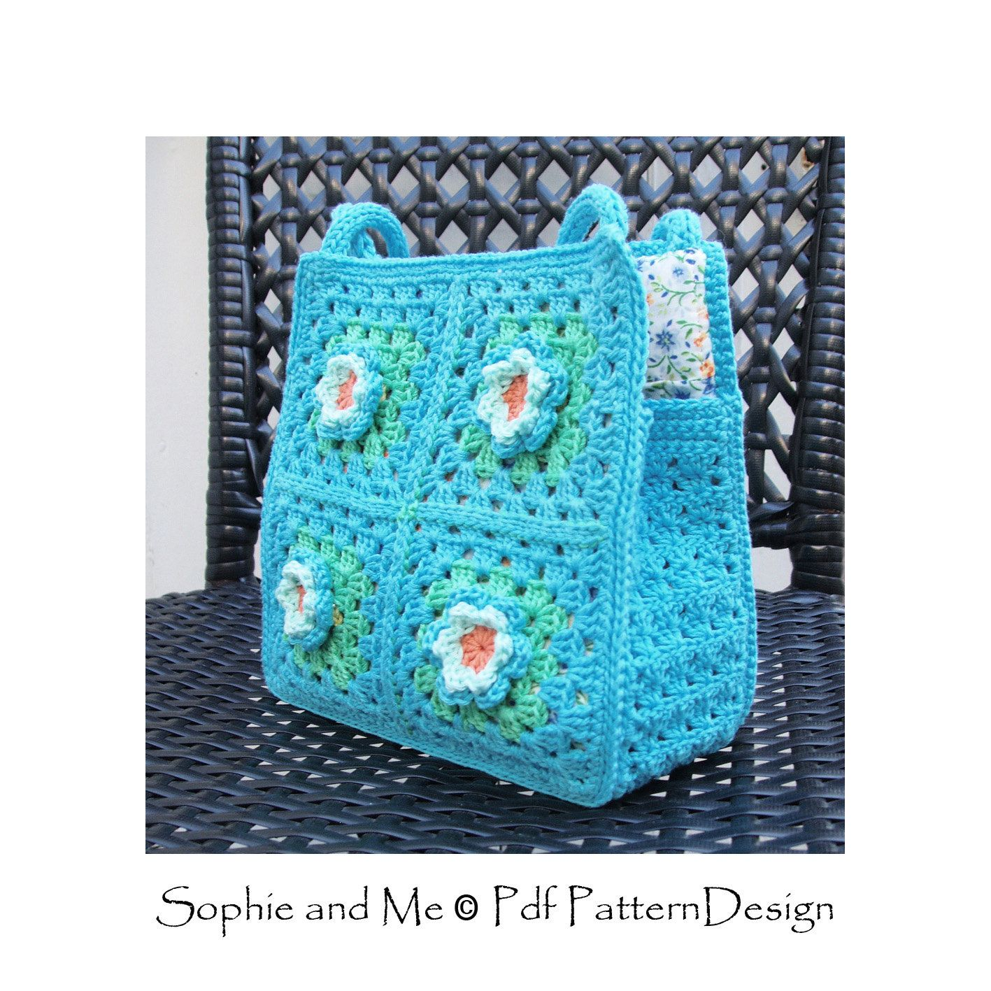 Granny Square Bag with flowers - for little and big girls - Instant ...