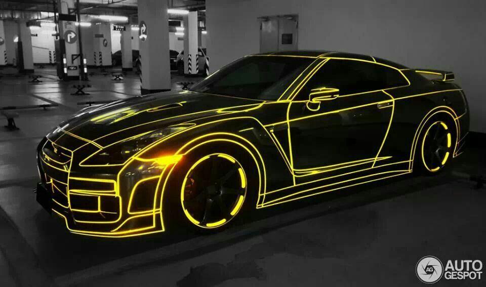 Glow in the dark GTR Car wrap, Nissan gtr, Nissan gt