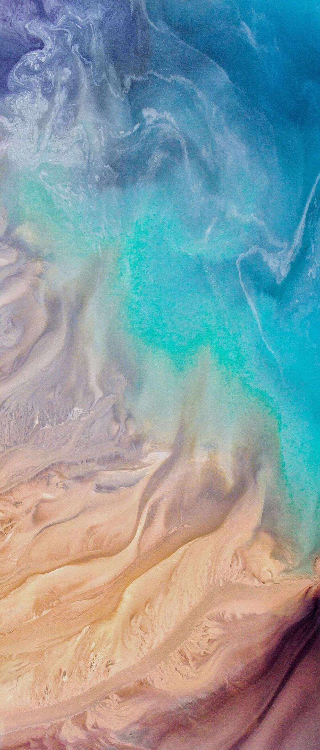 iOS 11, iPhone X, Aqua, blue, Water, beach, wave, ocean