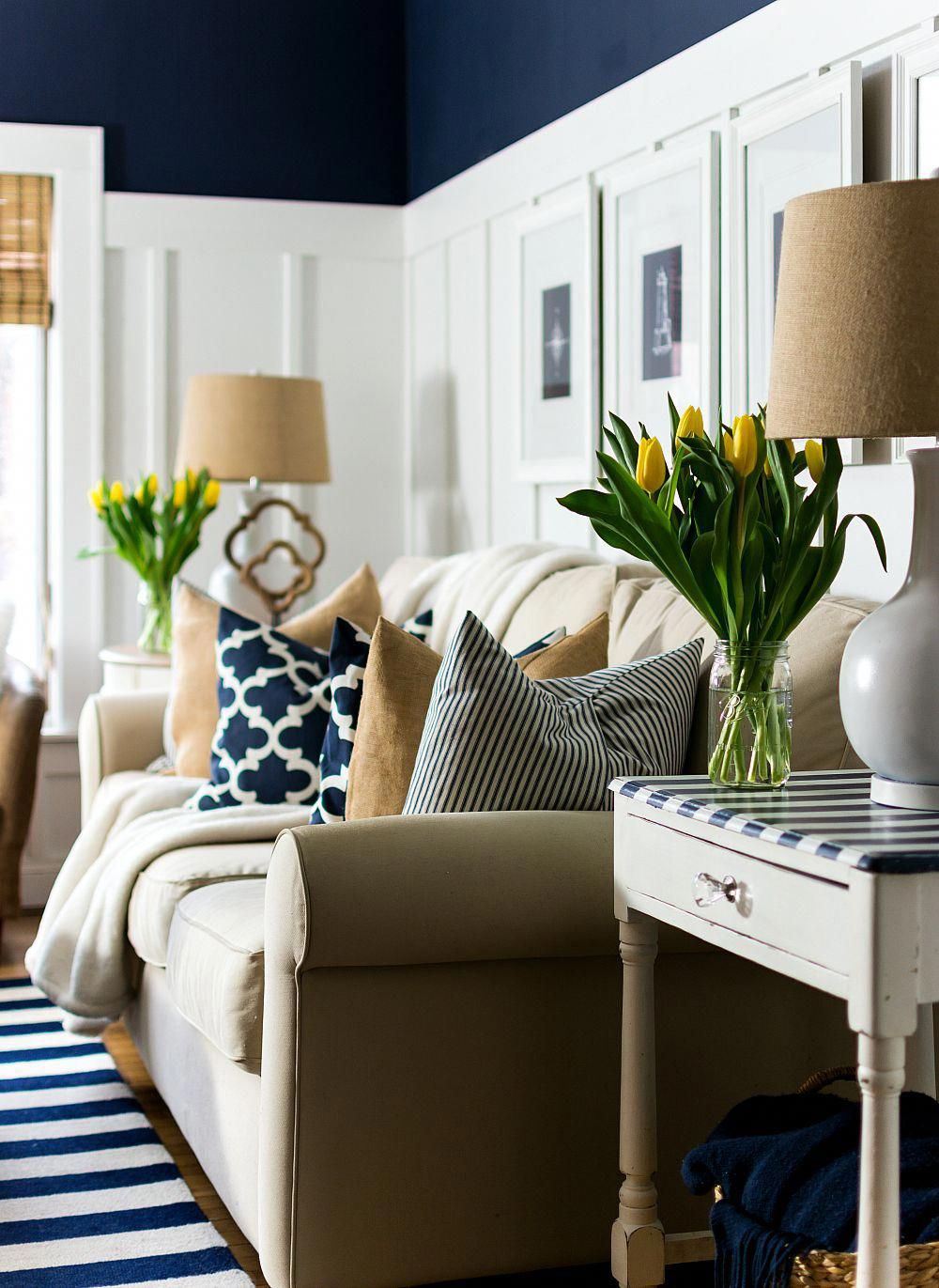 Home-office-design-ideen spring decor ideas in navy and yellow  it all started with paint