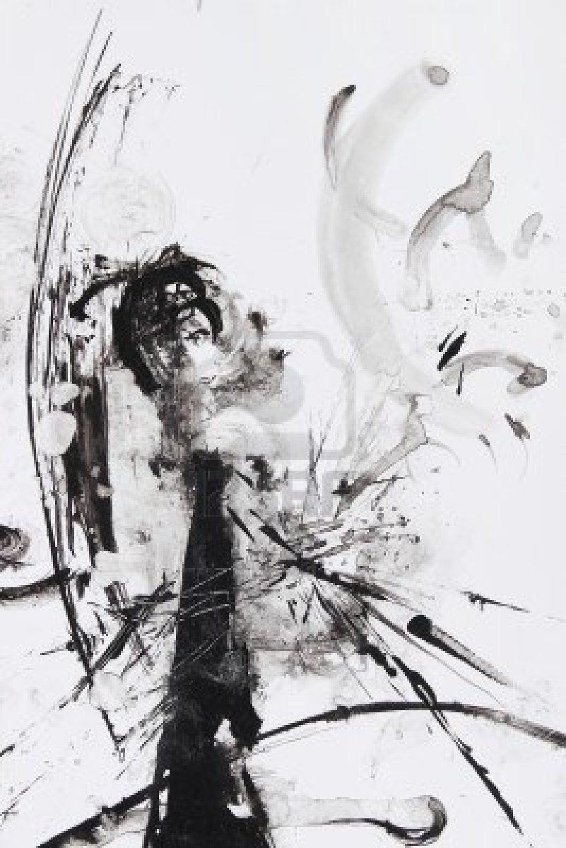 schwarz wei abstrakte malerei pinsel malerei pinterest paintings. Black Bedroom Furniture Sets. Home Design Ideas