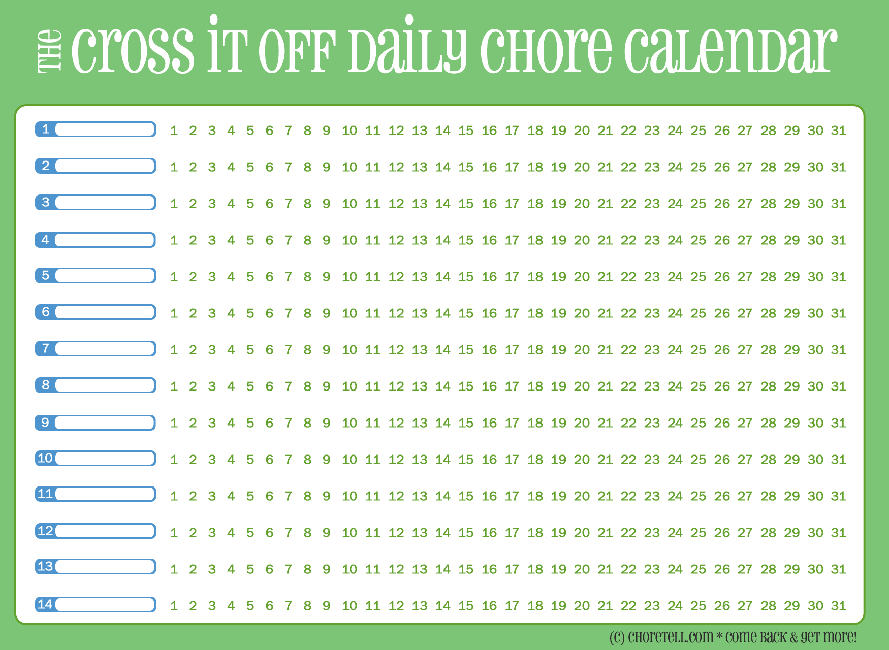 printable daily chore chart template