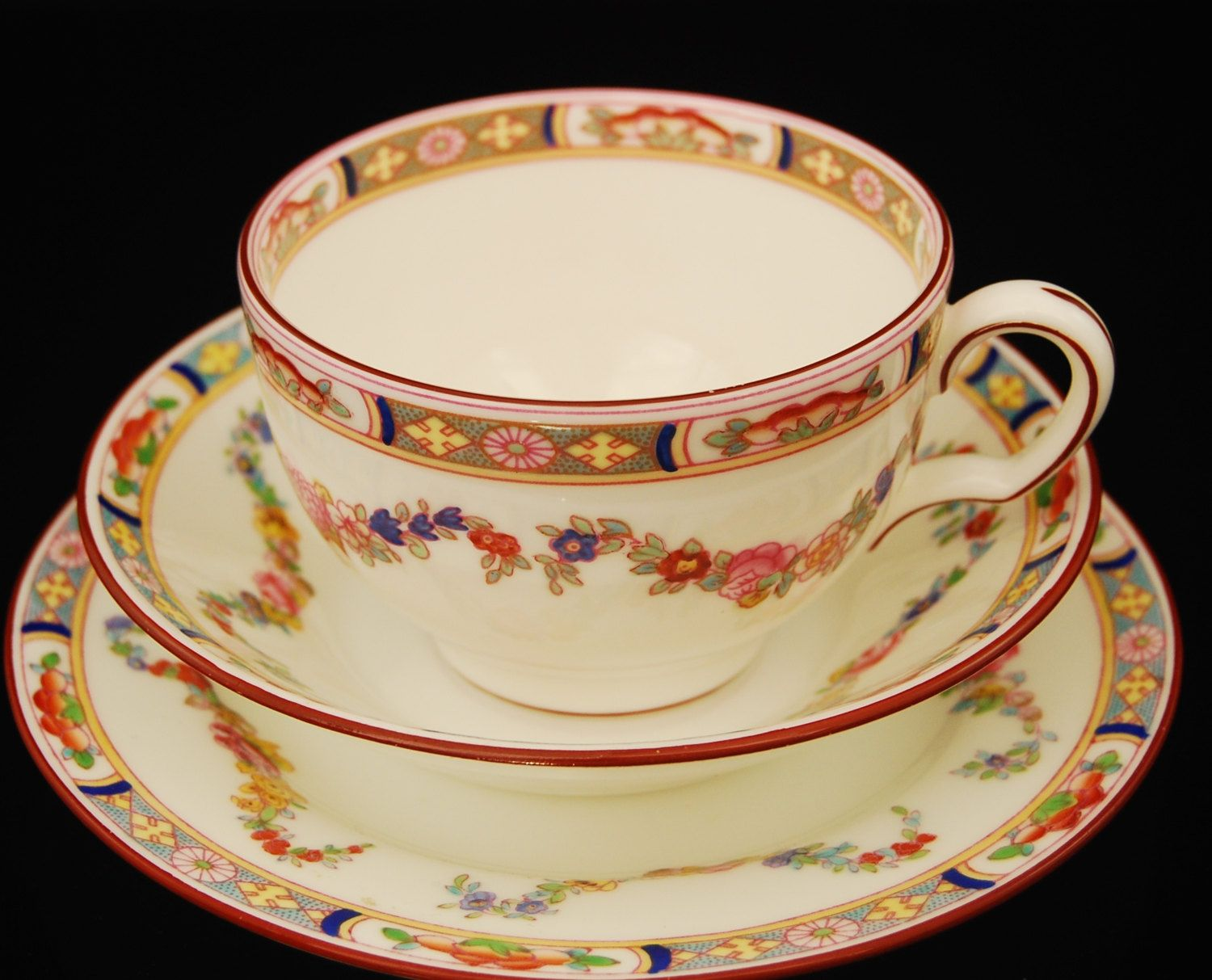 Mintons ROSE Cup & Saucer Floral Wreath by LoveEnglishAntique on Etsy