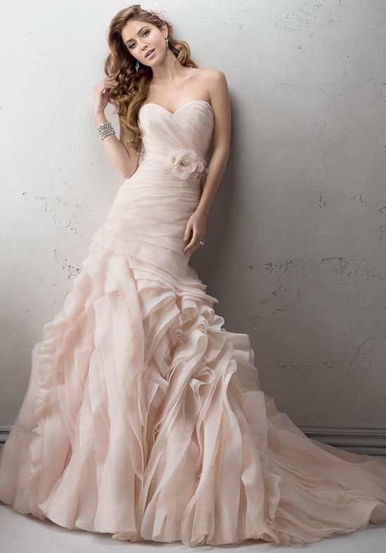 Asymmetrical Ruching Hugs The Body In This Opal Organza Fit And Flare Gown With Voluminous