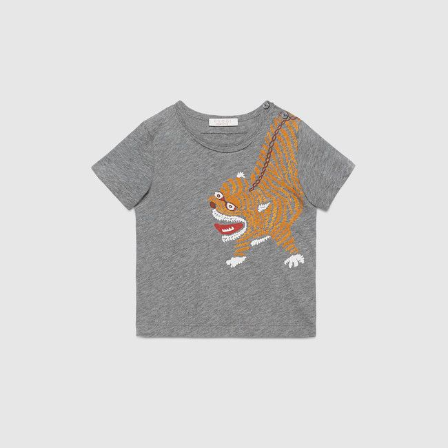 546ed6743527 Gucci Baby light grey tiger print cotton t-shirt.