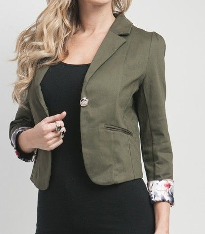 Green Olive Solid Floral Cuff Blazer Women Jacket Suit #fashion ...