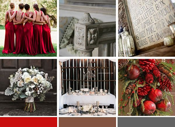 Red Grey And Brown Wedding Inspiration For A Rustic Winter The