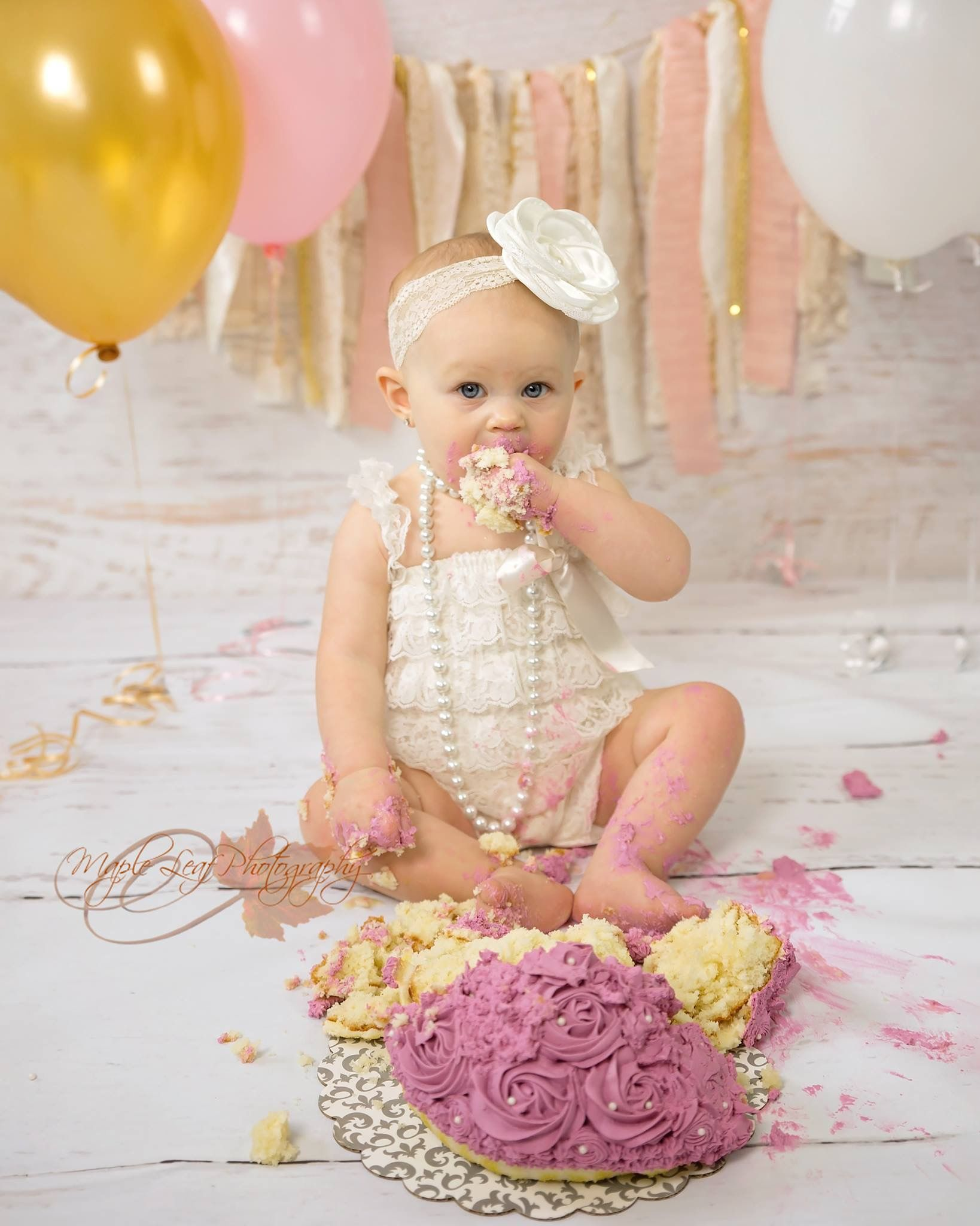 First birthday cake smash photographs ivory gold pink
