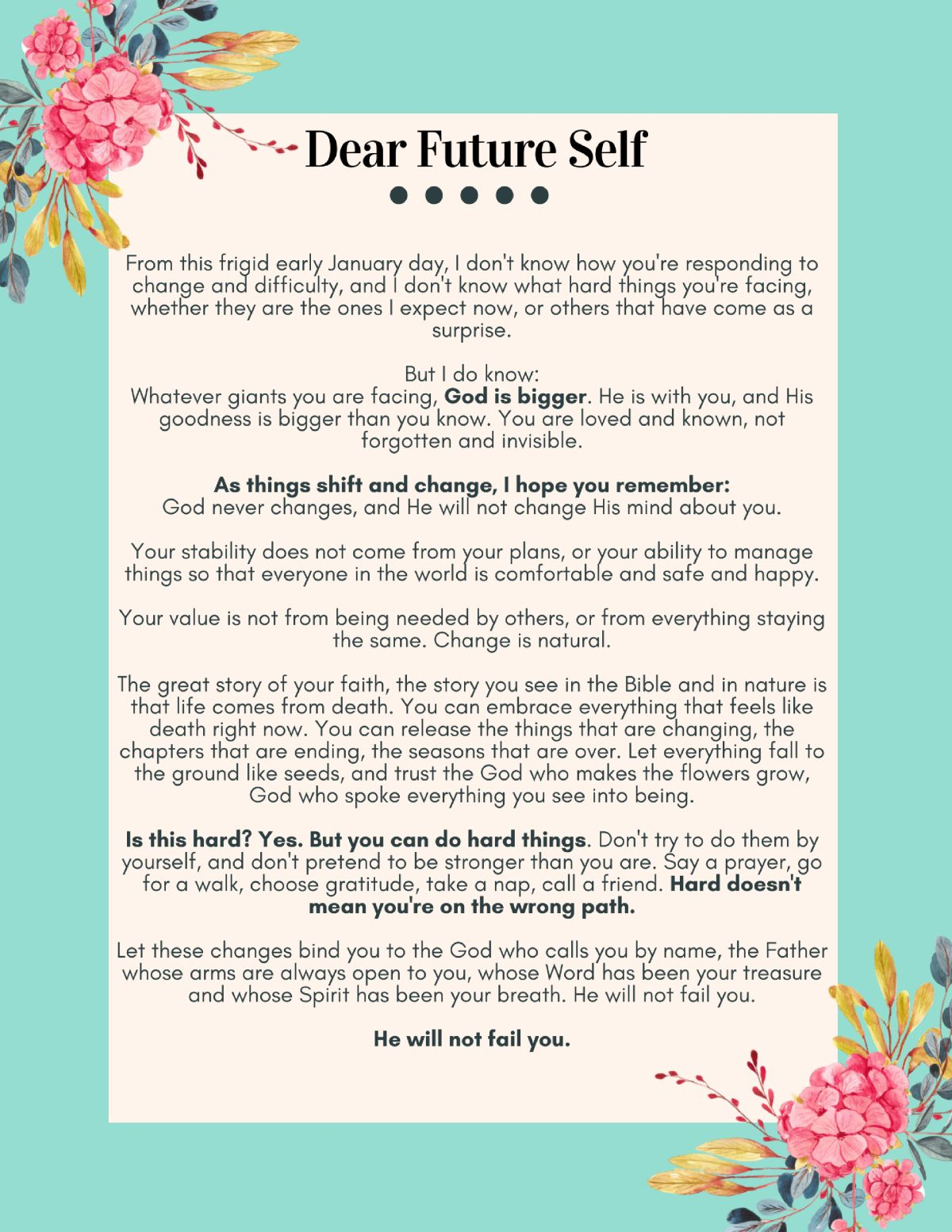 DIY Dear Future Self Letter (free printable) Letter to