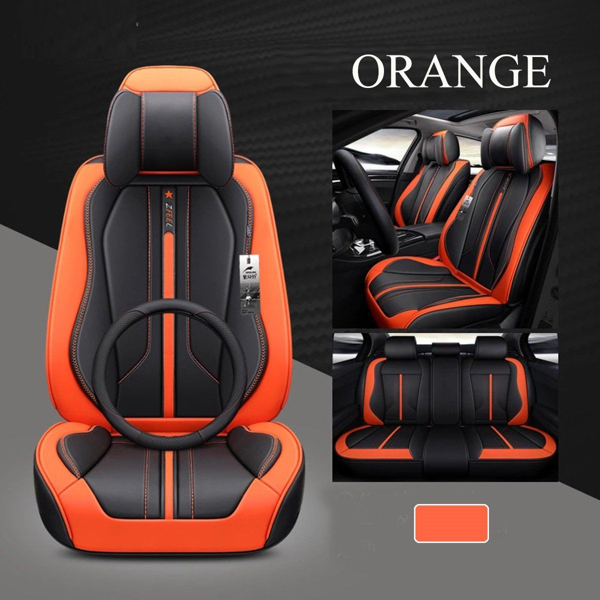 Polyester Car Seat Covers Protectors Breathable 5-Seats Universal Front+Rear Set