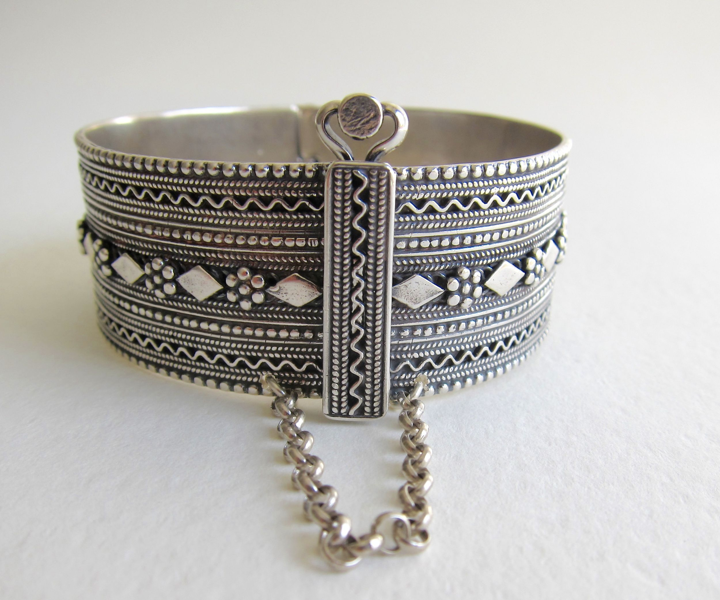 sterling handmade wide oxidized floral embossed art bangles silver product nouveau bangle