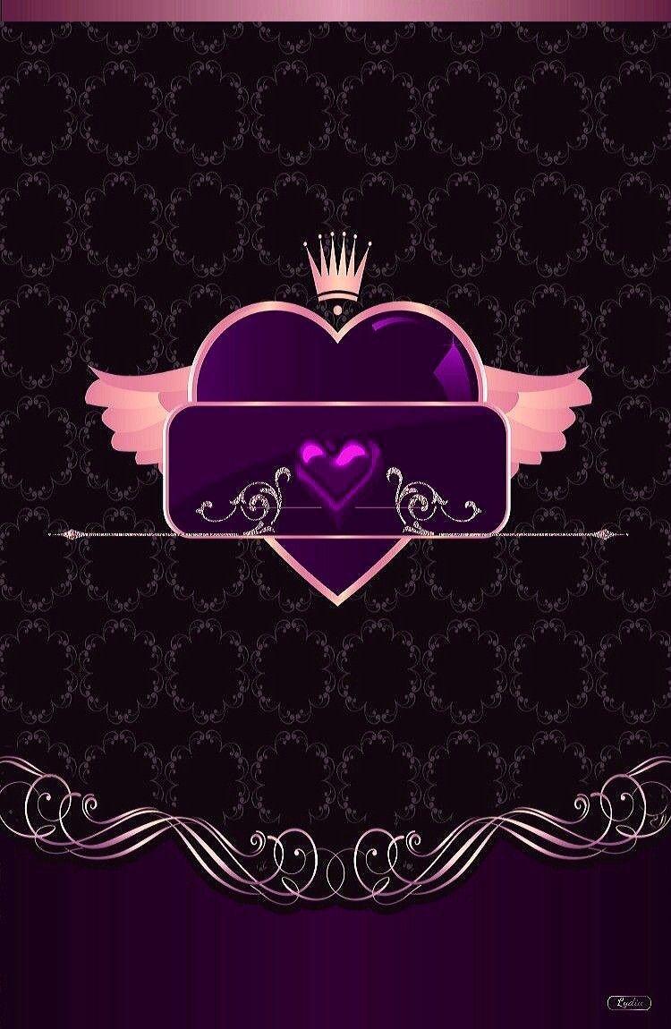 Black Purple Pink Wallpaper By Artist Unknown Heart