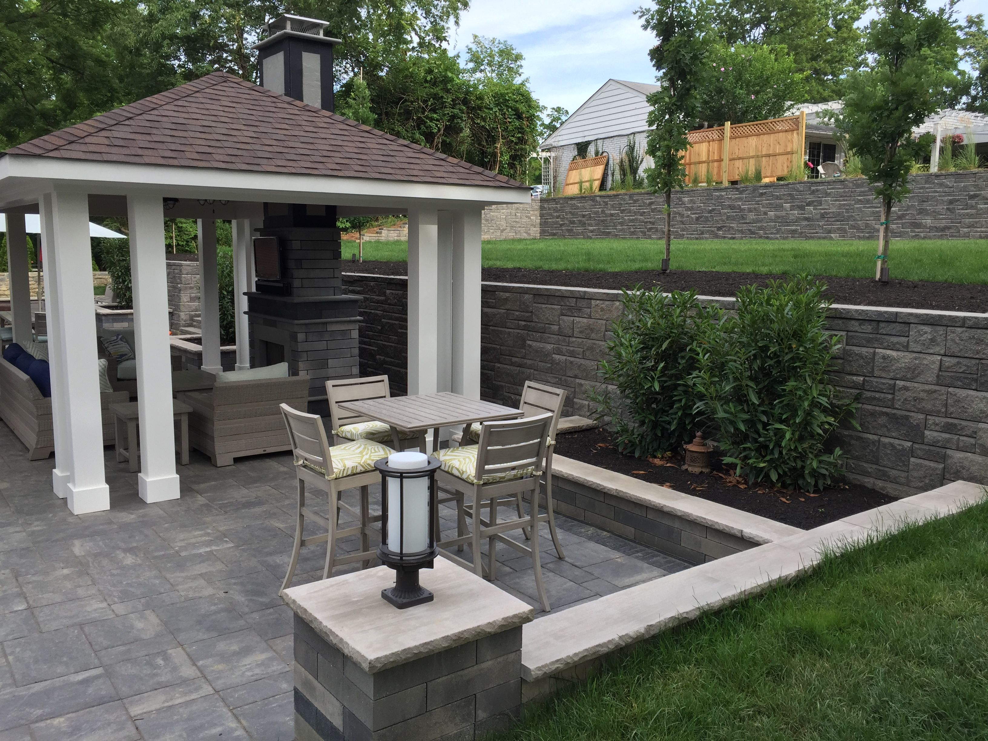Bigger Backyard Enjoyment After Allan Block Retaining Walls Was Used To Expanded The Patio Patio Building A Patio Backyard Retaining Walls