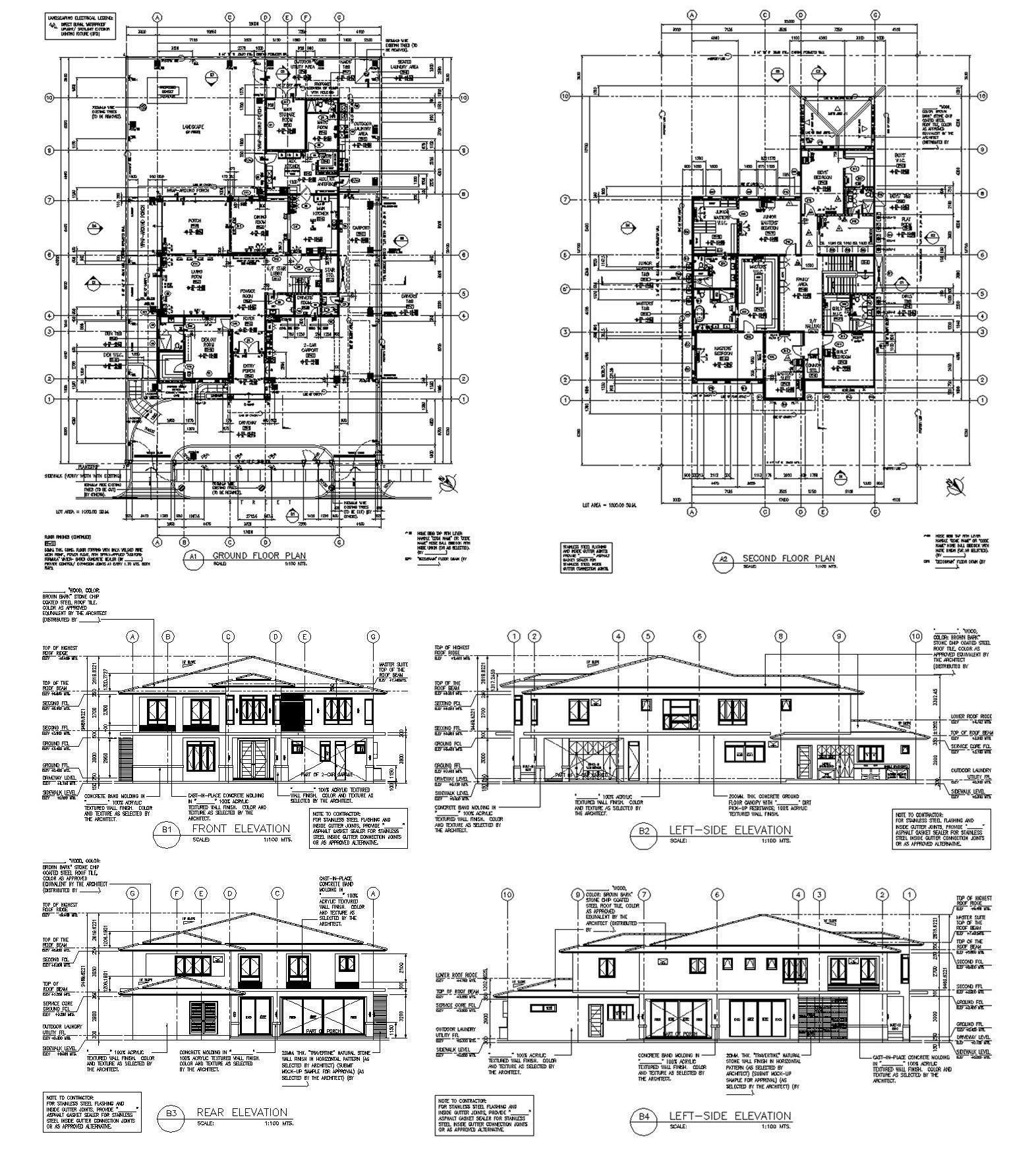Detailed 2 Storey Residential Unit Floor Plan With Elevations Residential House Floor Plans Residential