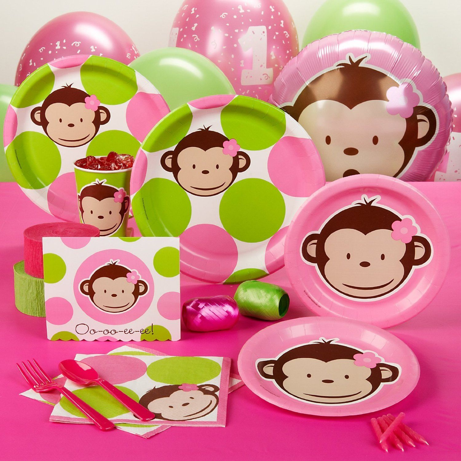 mod monkey pink party supplies Pinterest Google