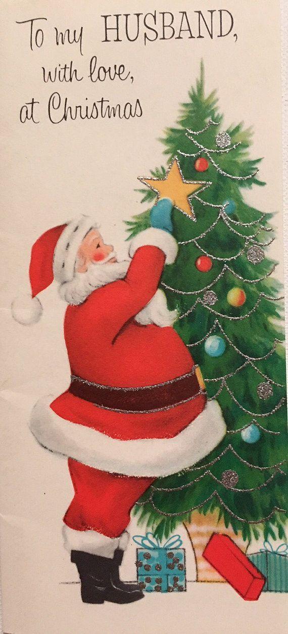 Vintage christmas card santa decorating tree glittered card husband items similar to vintage christmas card santa decorating tree glittered card husband mid century on etsy m4hsunfo