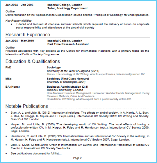 Academic CV example page 2 (With images) Academic cv
