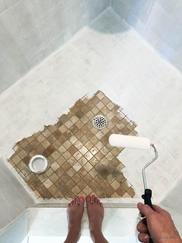 How To Paint Bathroom Tile Floor Shower Backsplash In 2020 Painting Bathroom Tiles Painting Shower Painted Shower Tile