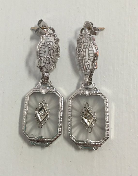 Antique Art Deco Filigree Camphor Gl Earrings 14k White Gold Diamond