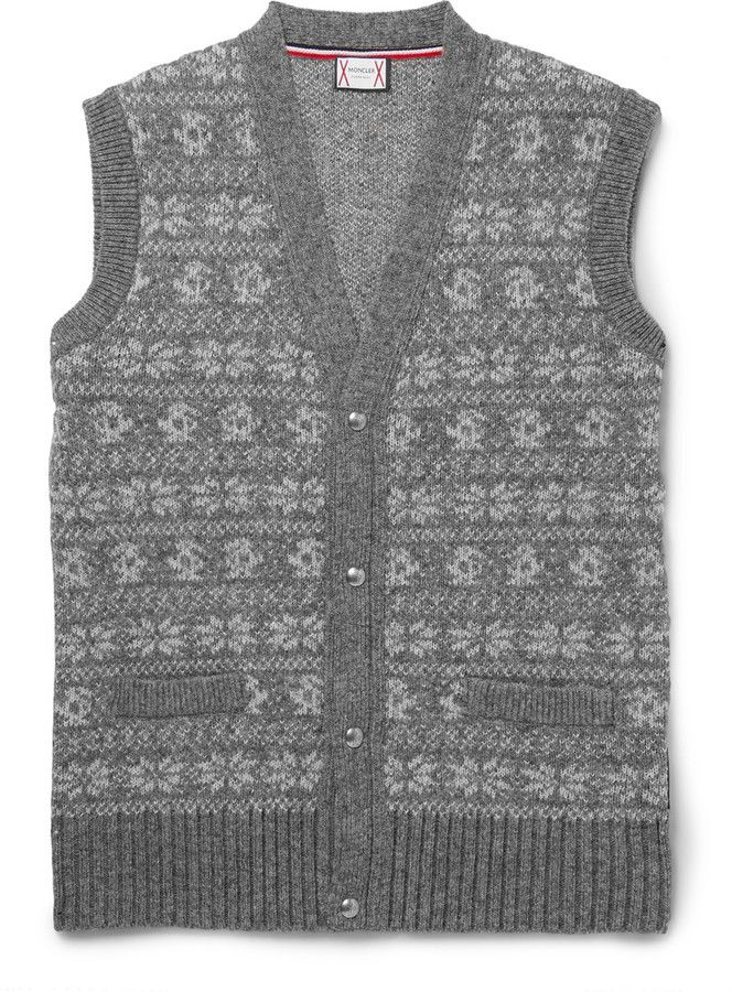 Moncler Gamme Bleu Fair Isle Wool-Blend Sweater Vest | Mens Vests ...