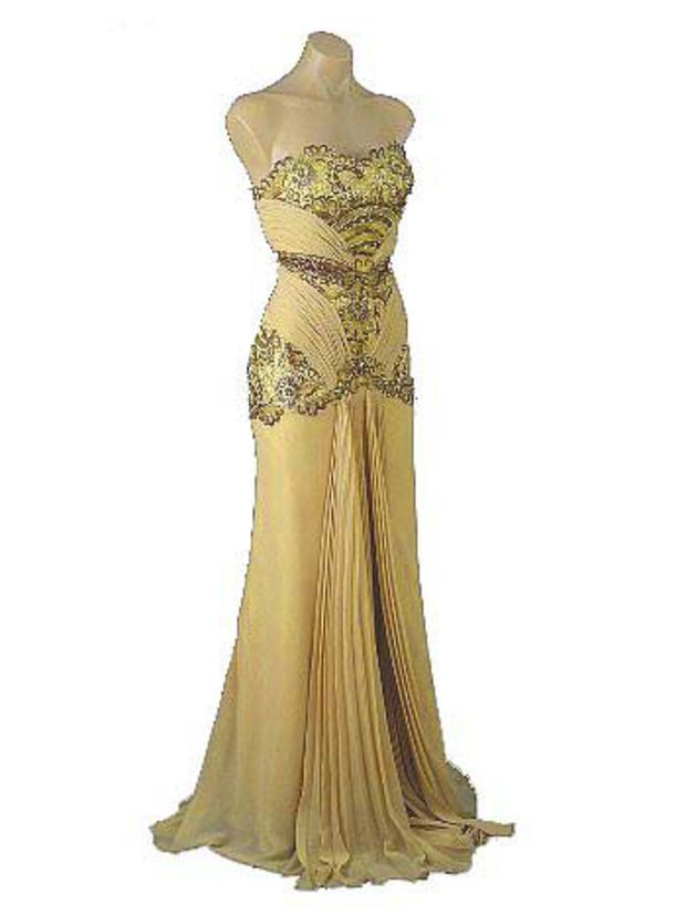 Old Hollywood Glamour Gold Vintage Inspired Evening Gown Vintage
