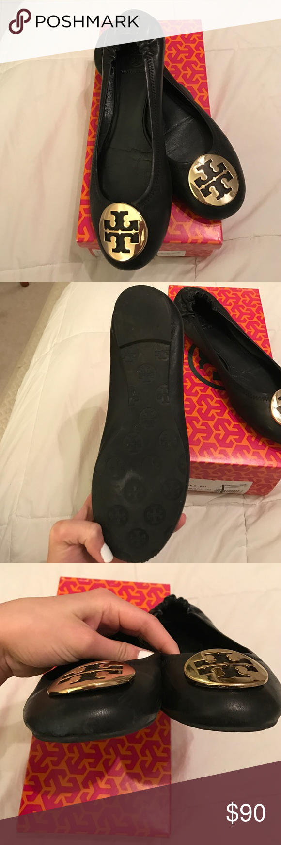 Tory Burch Classic Reva Ballet Flats Tory Burch Reva Flats size 8. These flats are in great condition only worn a few times! Some slight wear on the tips and bottoms as pictured above. Include original box. No trades. Tory Burch Shoes Flats & Loafers