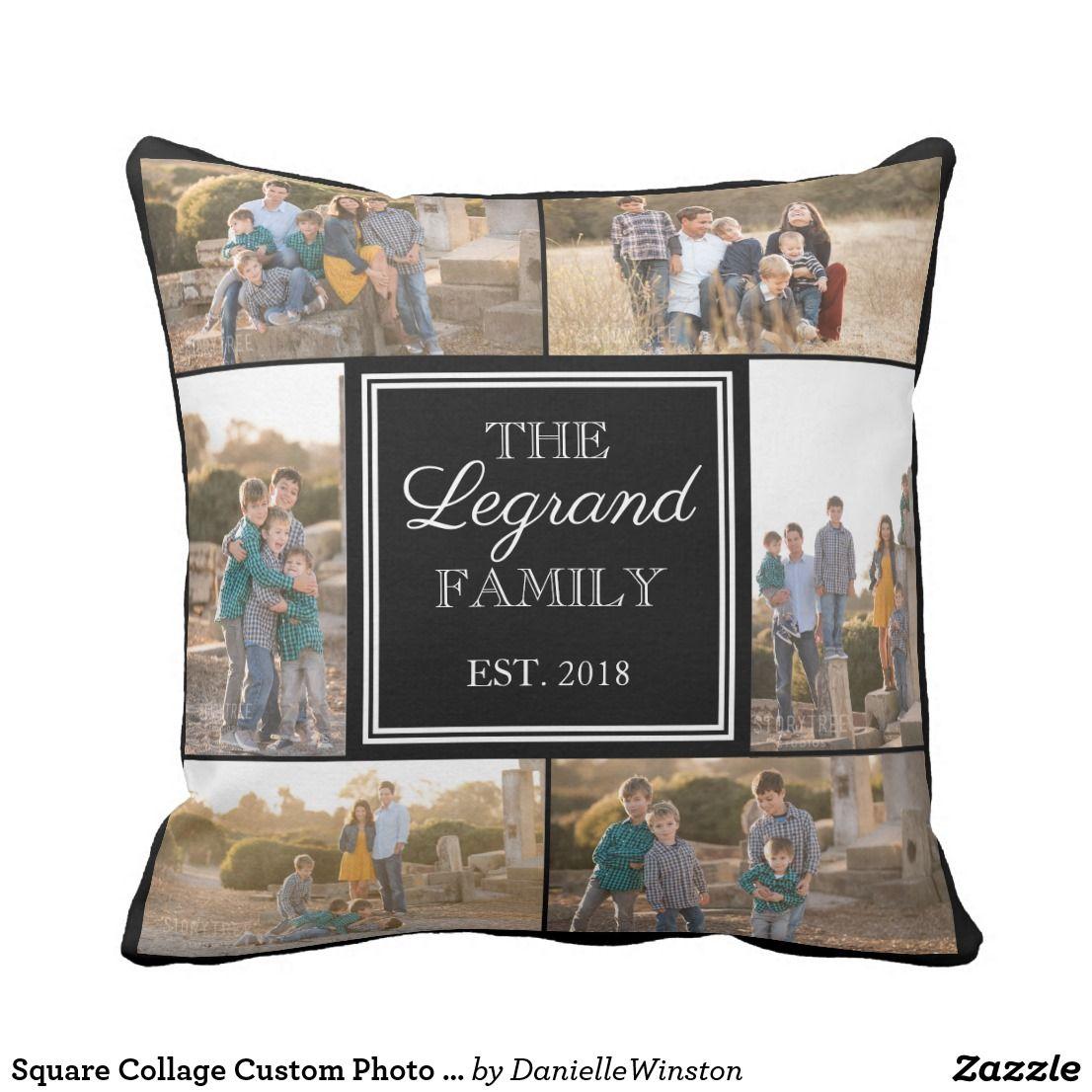 Square collage custom photo throw pillow throw pillows and pillows