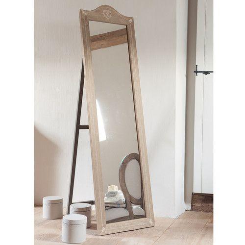 Miroir psych en bois de paulownia h 170 cm camille for Miroir sur pied en bois