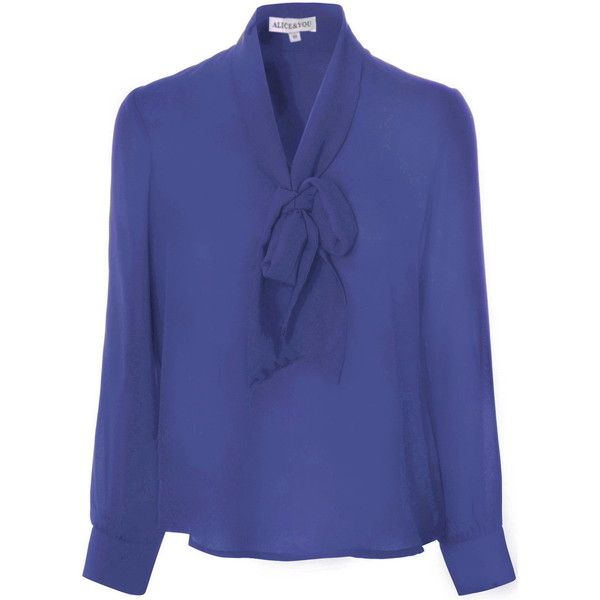 Royal Blue Sheer Pussybow Blouse ($35) ❤ liked on Polyvore featuring tops, blouses, blue, loose shirts, royal blue tops, blue shirt, loose long sleeve shirts and shirts & blouses