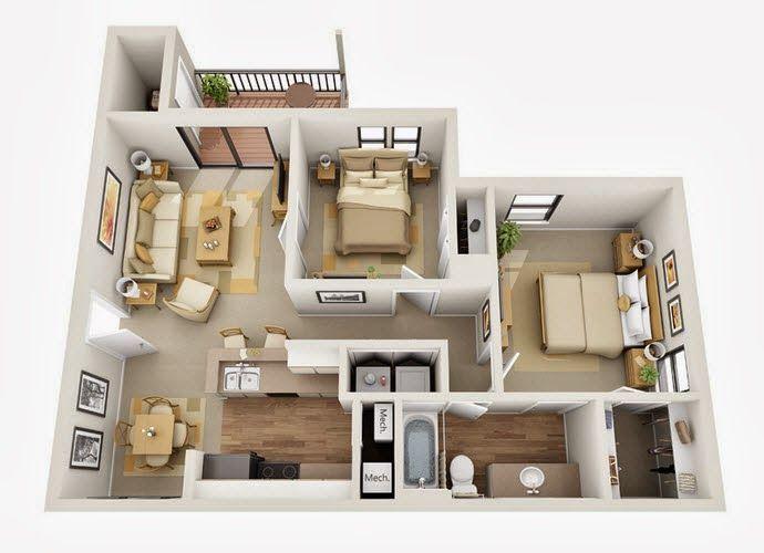 Departamentos pequeños, planos y diseño en 3D Apartments, Bedroom
