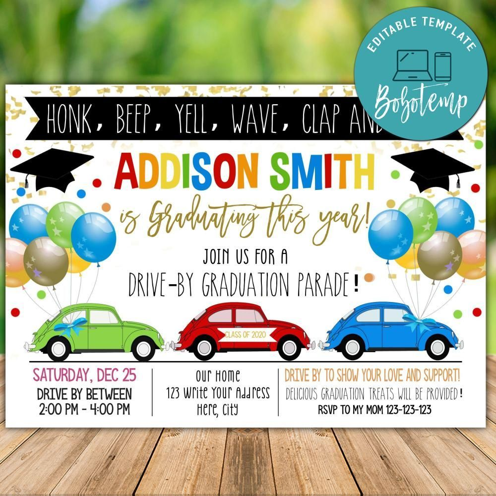 Editable Drive By Graduation Parade Template Instant Download Class 2020 In Graduation Invitations Template Graduation Invitations Graduation Invitations Diy