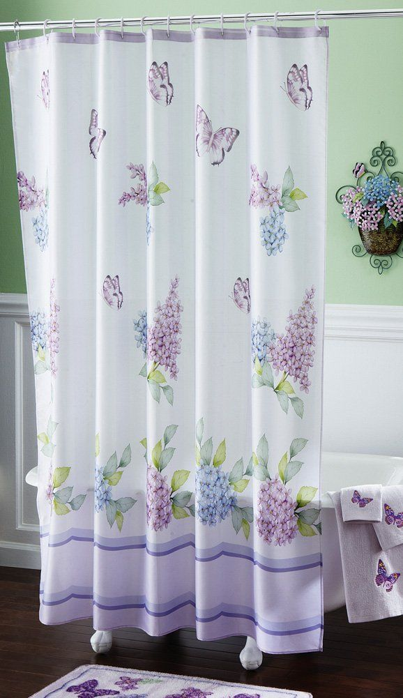 Lilac And Butterflies Bathroom Shower Curtain