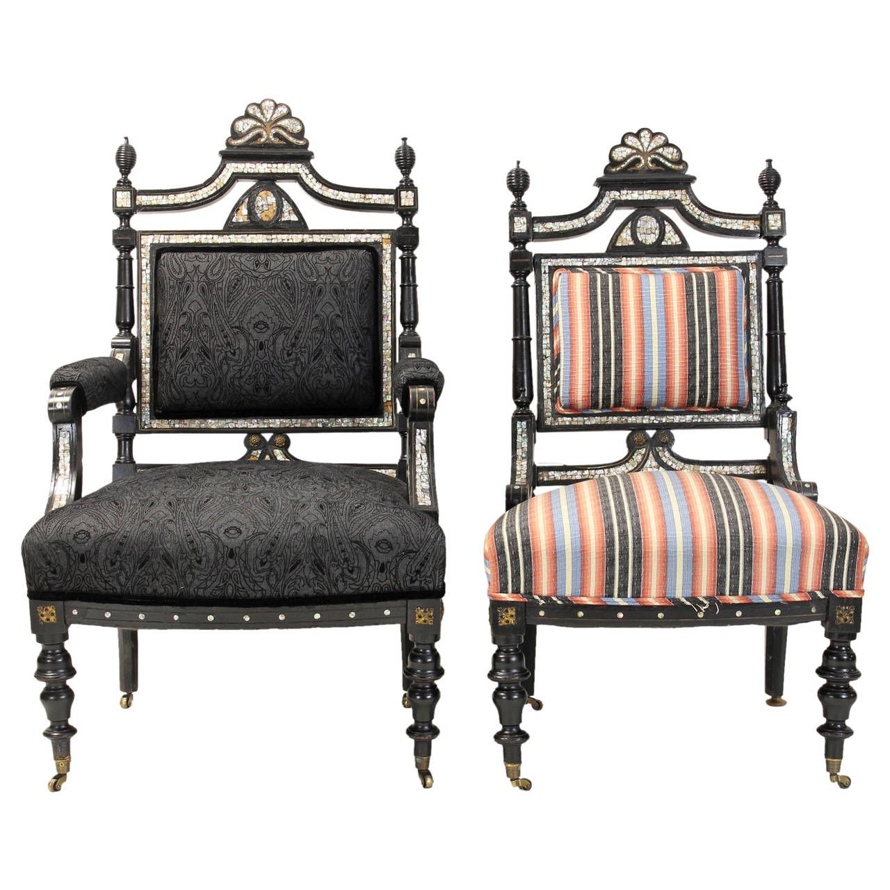 View This Item And Discover Similar Living Room Sets For Sale At   An  Unusual Pair Of English Victorian Parlor Chairs Dating From The In Black  Lacquer ...