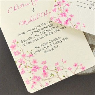 Cherry Blossom Theme Wedding Invitation Happily Ever After In