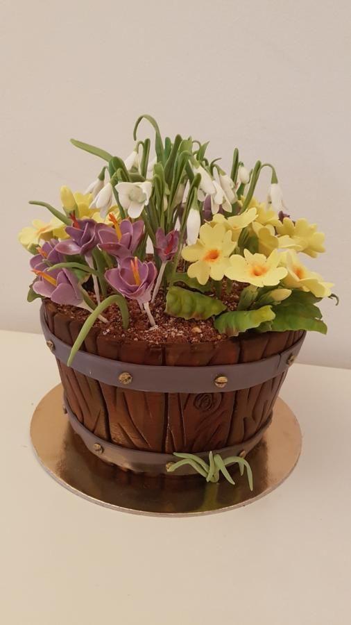 Flowers In A Bucket By Iratorte Flower Pot Cake Flower Cake Design Flower Basket Cake
