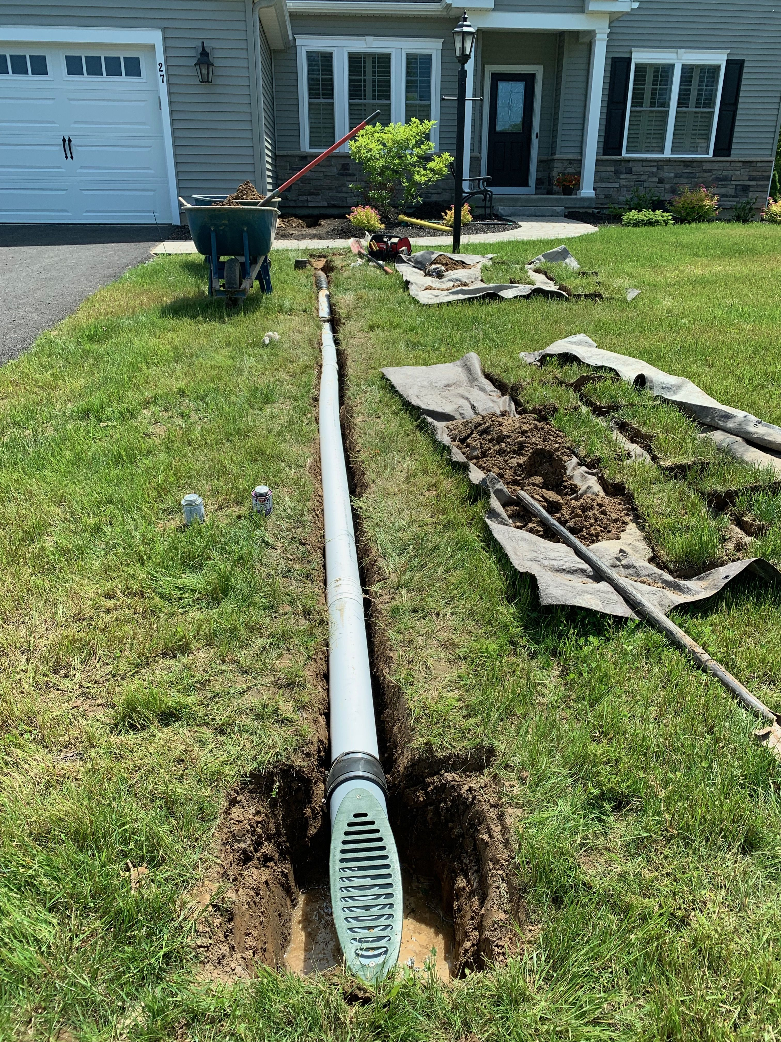 Foundation French Drain And Gutter Downspout Drainage System Draining Water Away From Walls Home Backyard Drainage Landscape Drainage Yard Drainage