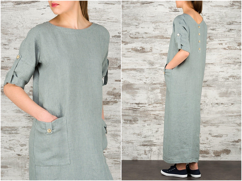 Linen Maxi Dresses For Women Long Linen Summer Dress Loose Fitting Linen Dress 100 Linen Women S Clothing Casual D Womens Dresses Long Linen Dress Dresses [ 2250 x 3000 Pixel ]